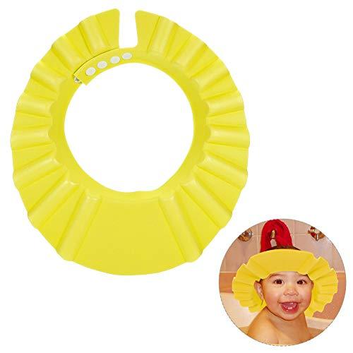 Gorro de ducha Fancyleo, impermeable, ajustable, para proteger los ojos y las orejas para bebés, bebés, niños, niños amarillo amarillo