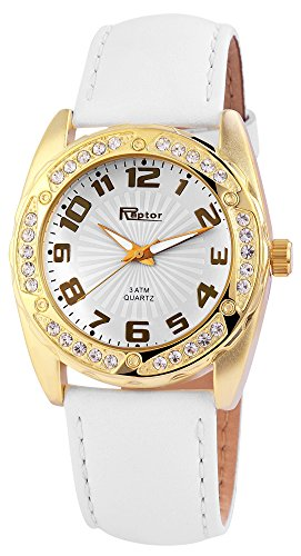 Raptor Damen-Uhr Echtleder Armband Analog Quarz RA10095-002