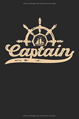 Captain: Captán vintage style logbook gifts cuaderno de notas patrón de puntos punteado (formato A5, 15,24 x 22,86 cm, 120 páginas)
