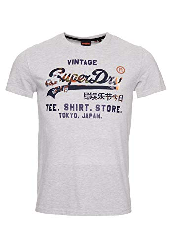 Superdry VL Infill T_Shirt Store Tee, Gris (Grey Marl 07q), S Homme