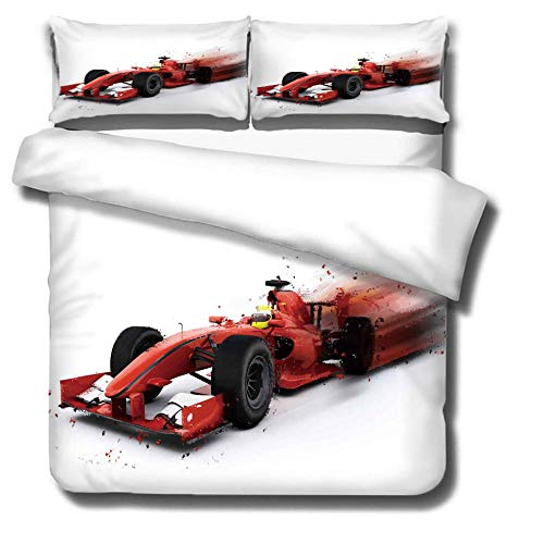 DJDSBJ Duvet Cover King 240x220cm bedding set,Polyester cotton quilt cover with zipper closure+2 pillowcases.Style for adults and children:Racing car