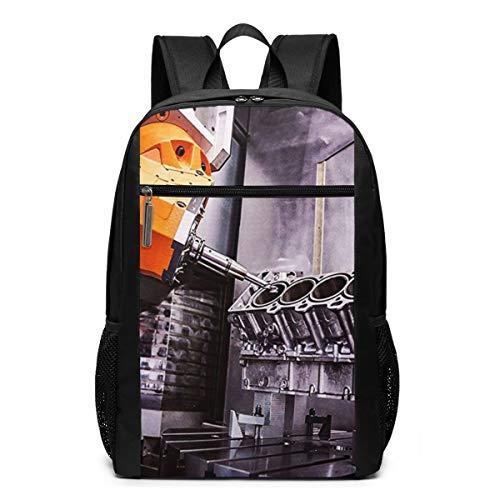 Schulrucksack V8 Auto Motorblock, Schultaschen Teenager Rucksack Schultasche Schulrucksäcke Backpack für Damen Herren Junge Mädchen 15,6 Zoll Notebook