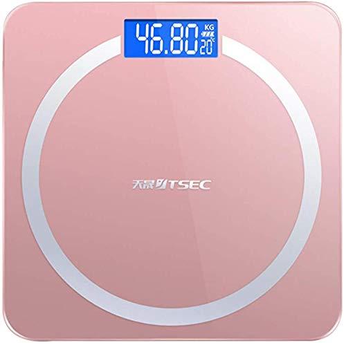 Báscula de baño digital de peso corporal con plataforma de vidrio templado Báscula electrónica 180 kg / 400 lb para el hogar-Rosado