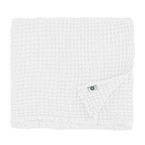 Linen & Cotton Waffel Tuch Saunatuch Strandtuch, Handtücher/Badetücher/Duschtücher/Gästetucher ALVA, 48% Leinen, 52% Baumwolle - 75 x 110cm (Weiß/Weiss)
