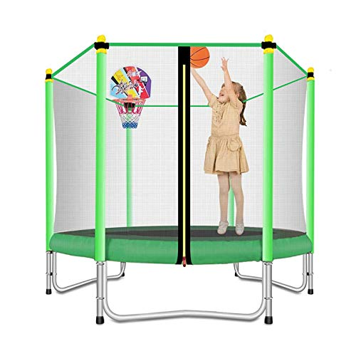 Lovely Snail 5FT Trampoline for Kids with Safety Enclosure Net Basketball Hoop