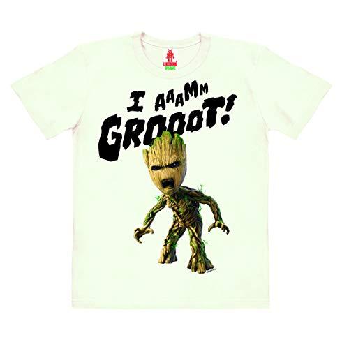 Logoshirt - Marvel - Guardianes de la Galaxia - Groot - Estoy Groot - Camiseta 100% algodón ecológico para niño - Blanco Antiguo - Diseño Original con Licencia, Taglia 92/98, 1½-3 años