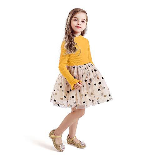 TTYAOVO Vestido de Tul de Fiesta de Princesa de Manga Larga para Niñas Talla(140) 6-7 años 671 Amarillo