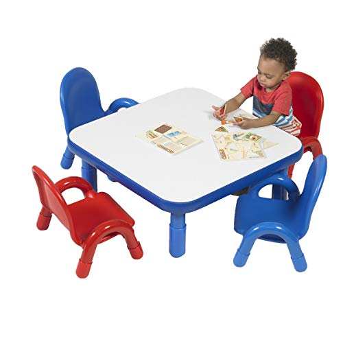 Angeles Baseline 30' Sq. Kids Table and Chairs Set, Homeschool/Playroom Toddler Furniture, Activity Table for Daycare/Classroom Learning, Blue (AB74112PB5)