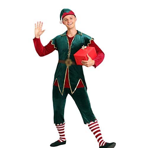 JEELINBORE Weihnachten Kostüme für Erwachsene Lustig Cosplay Fancy Dress Xmas Elf Outfit Set - Herren, M