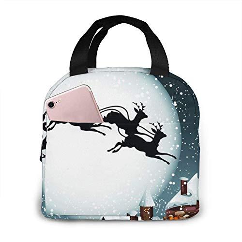 Hdadwy Bolsa de almuerzo de Papá Noel con ciervos navideños Bolsa de asas Caja de almuerzo Contenedor de almuerzo aislado para mujer Hombre