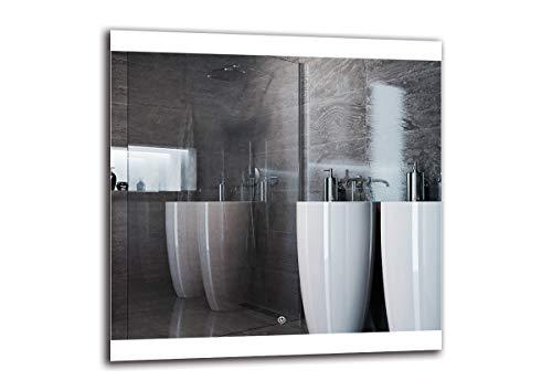 Espejo LED Deluxe - Dimensiones del Espejo 80x80 cm - Interruptor tactil - Espejo de baño con iluminación LED - Espejo de Pared - Espejo con iluminación - ARTTOR M1ZD-26-80x80 - Blanco frío 6500K