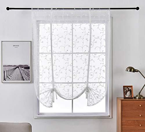 Aspthoyu Liftable Voile Semi Sheer Curtain Vine Pattern Bowknot Ribbon Tie Up Roman Rod Pocket Curtain Balloon Curtain for Living Room 46x63 inch, White