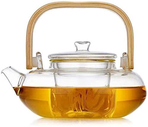 Bouilloire induction Théière à thé en verre de bambou à bois de thé peut être chauffée par four à poterie électrique pour le bureau de la maison extérieure 800ml WHLONG