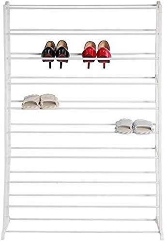 YLCJ Grote schoenenrek, 10-level schoenenrek voor 50 paar schoenen Draagbare metalen slangen Schoenenkast Opslag voor stand-organizer Ruimtebesparend, eenvoudig te monteren, schoenenrek 35,03 x 9,84 x 55,12 inch