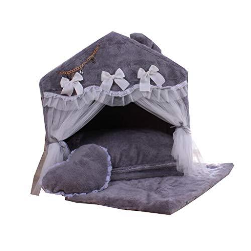 BRFDC Haustierbett Haustierbett Mit Moskitonetz Hundehütte Katzenbett Drinnen Abnehmbar Und Waschbar for Kleine Und Mittlere Haustiere (Farbe : A, Größe : 70X52X70CM)