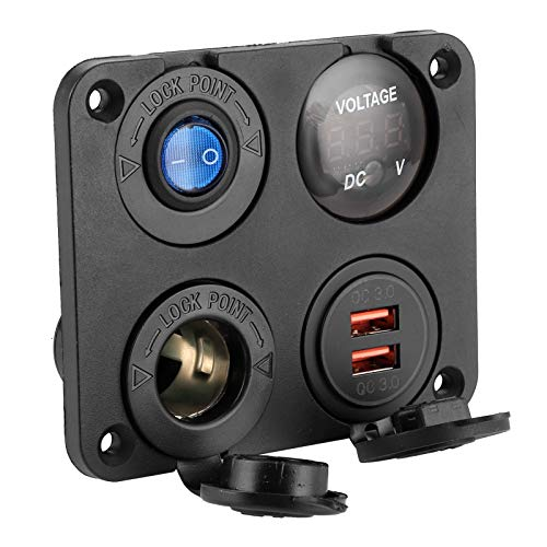 USB Car Charge, Waterproof Switch Panel Car Voltmeter QC3.0 for MP3 Players for 6-24V Devices