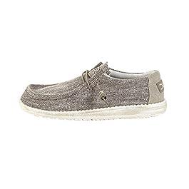 Dude Shoes Hey Men's Wally Woven Beige Canvas Slip On Shoe