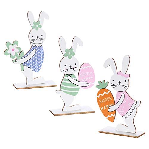 VALICLUD 3 Piezas de Madera de Pascua Conejito de Mesa Decoración de Pie Conejo Granja Decoración para La Casa Y La Decoración de La Oficina