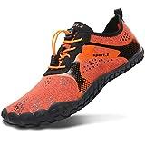 L-RUN Women Water Shoes Mens Walking Slip On Flat Driving Shoes Orange Men 12.5 M US