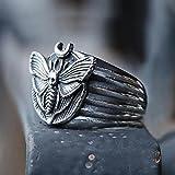 liuliu Death's Head Skull Moth Anillos de Mariposa de Lujo Joyas de Animales Anill para Mujeres Accesorios de Dedo de Estilo gótico de Moda