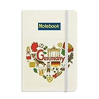 ドイツの愛の心の風景の国旗 ノートブッククラシックジャーナル日記A 5