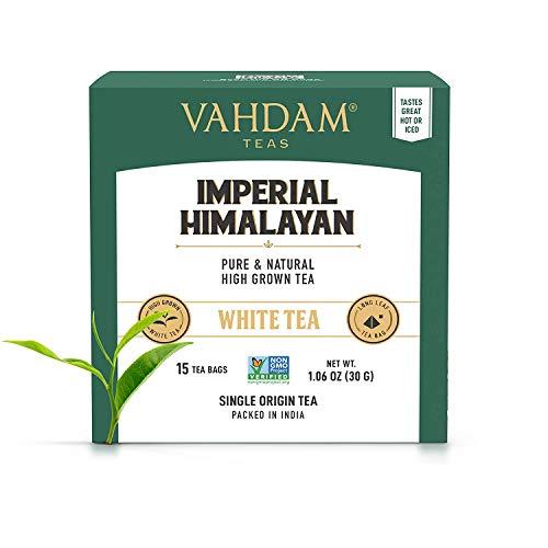 Té blanco ecologico del Himalaya imperial 15 Bolsitas de té, pirámide de hoja larga Bolsas de té blancas Cosecha cuidadosamente recolectada de estados de gran elevación, 100% saludable y natural