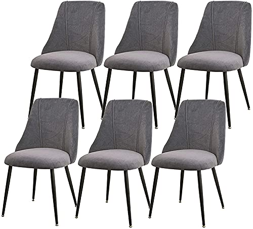 VEESYV Set Of 6 Dining Chairs Flannel Fabric with Backrest Upholstered Seat with Black Metal Legs Light Luxury Nordic Dining Chairs (Color : Green)