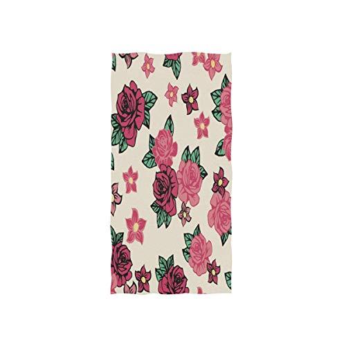 SZBNIZAINAOI Pretty Tattoo Rock Roses - Toallas de mano suaves, muy absorbentes, grandes, 39,9 x 69,8 cm, toalla de baño multiprupose para la cara, baño, gimnasio, hotel, spa