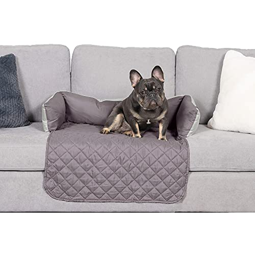Furhaven Pet Furniture Cover - Sofa Buddy Two-Tone Reversible Water-Resistant Living Room Furniture Cover Protector Pet Bed for Dogs and Cats, Gray and Mist, Medium