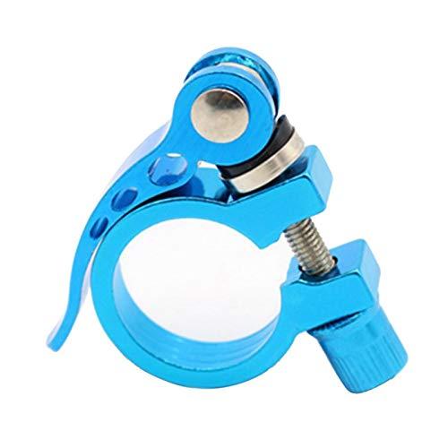 Abrazadera para tija de sillín de bicicleta, cierre rápido, aleación de aluminio, para bicicleta de carreras de 28,6 mm/31,8 mm/34,9 mm, color azul