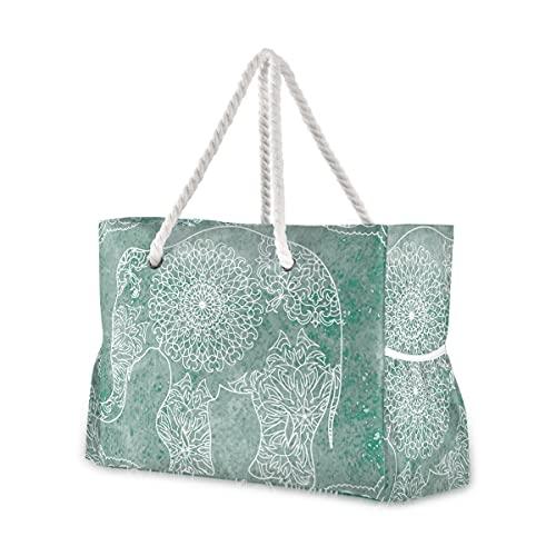 Bolsas de playa grandes Totes de lona, bolso de hombro, diseño de mandala elefante resistente al agua para gimnasio, viajes diarios