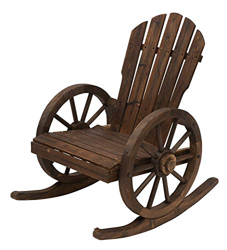 250lbs Sturdy & Weather-Resistant Rocking Frame Rustic Outdoor Patio Adirondack Rocking Chair Perfect Rocking Chair for Porch, Balcony, Backyard