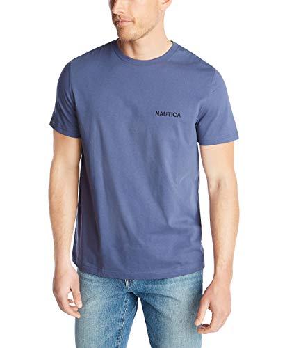 Nautica Men's Short Sleeve Solid Crew Neck T-Shirt, Blue Indigo, Large