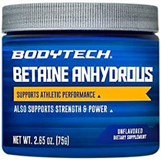 BodyTech Betaine Anhydrous 2500 MG Supports Athletic Performance, Strength Power (2.65 Ounce Powder)