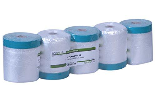 5 x Colorus Masker Tape PLUS UV Gewebe | Gewebeband mit Malerfolie 110 cm x 20 m | Klebeband mit Folie für Innen, Außen | Maskenband für raue Untergründe | 21 Tage einsetzbar | Abdeckfolie