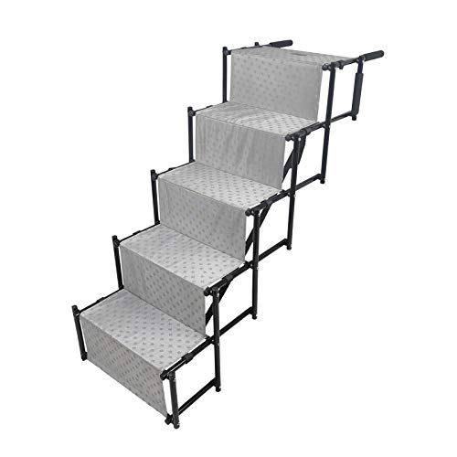 YEP HHO 5 Steps Upgraded Folding Pet Stairs Ramp Lightweight Portable Dog Cat Ladder with Waterproof Surface Great for Cars Trucks SUVs (Gray) Review