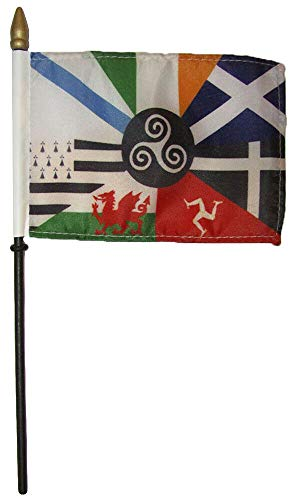 Miami Wholesale Wholesale Lot of 6 Celtic Nations 4'x6' Flag Desk Set Table Wooden Staff (No Base)