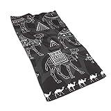 Tyueu Toalla de Cocina de Cara Set of Stylized Figures of Camels Microfiber Towel Super Absorbent Personal Custom Wipes, Machine Washable Absorbent Towel, Kitchen Towels Dish Towels 15.7x27.5 Inches