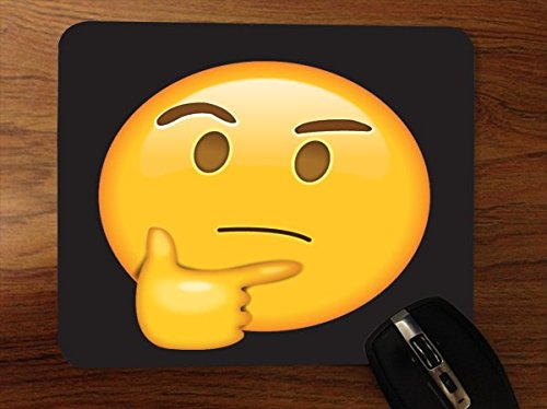 Think Thinker Emoji Emoticon Yellow Smiley Face Black Background Desktop Office Silicone Mouse Pad by Moonlight4225