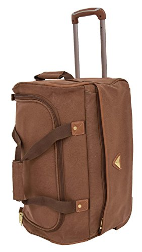 Wheeled Holdall Faux Suede Travel Duffle Mid Size Bag Rolling Luggage H052 Tan