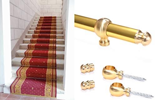 Tubo de aluminio dorado y plateado para fijación de alfombras y pasillos en escalones de escaleras, con anillas (kit 1Stick + 2 anillos), 120 cm