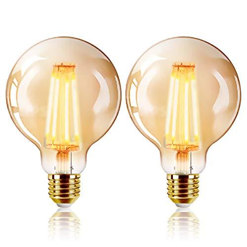LED Lampadina Vintage Edison, G125 6W E27 bianco caldo 2200K Edison lampadina Vintage Retro Stile Lampadine Decorativo luce filamento della lampadina (2pezzi)