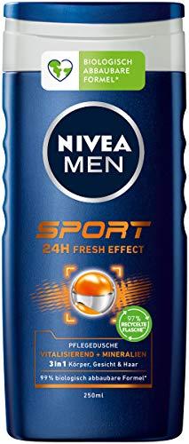 Nivea Men Sport Pflegedusche (250 ml), vitalisierendes und pflegendes Duschgel mit Mineralien, erfrischende Dusche für aktive Männer