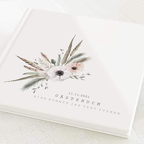 sendmoments Gästebuch, zum Auslegen und Eintragen, Federn & Blumen, personalisiert mit Text,...