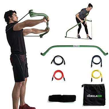 Gorilla Bow Home Gym Resistance Training Kit - Full Body Workouts - Adjustable Bands - Portable Equipment Set - Kickstarter Funded (Green)