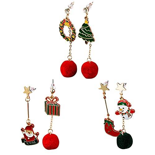 3 Pares De Pendientes Colgantes De Navidad para Mujer, Conjunto De Joyas para Decoración De Fiesta, Regalos para Mujeres, Niñas, Niños, Disfraz De Decoración para Fiesta De Navidad