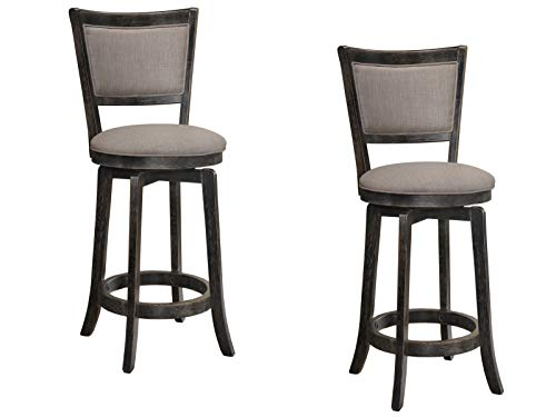 "Best Master Furniture 31"" Mid-Century Swivel Bar Stools, Set of 2, Grey/Taupe"