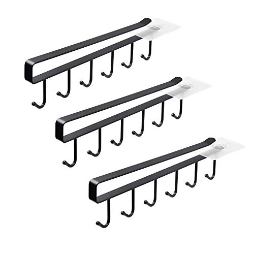ECROCY Adhesive Cup Holder Under Cabinet - 3pcs x 6 Hook Coffee Cup Mug Holder for Kitchen, Fit for 1 Inch Thickness Shelf or Less