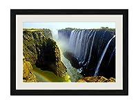 美しい滝、ビクトリア滝、リビングストン、アフリカ - アートプリント黒木製フレームフレームポスター家の装飾(50x35cm)