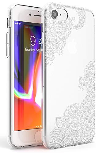 Bianco Henna Slim Cover per iPhone 6 TPU Protettivo Phone Leggero con Astratto Modelli Tatoo Mandala Mehndi